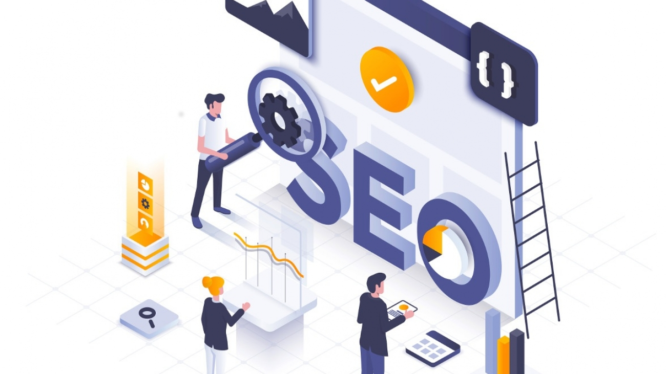 Modern flat design isometric illustration of Seo Optimization. Can be used for website and mobile website or Landing page. Easy to edit and customize. Vector illustration